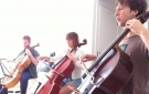 Tre Voci Cello Ensemble rehearsing music by John Lely nu:nord, '13